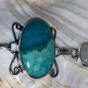 Striking Chrysocolla Gemstone statement bracelet